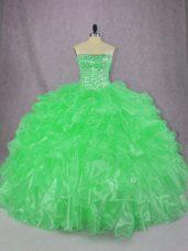 Ball Gowns 15 Quinceanera Dress Green Strapless Organza Sleeveless Floor Length Lace Up