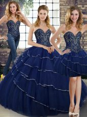 Navy Blue Tulle Lace Up Vestidos de Quinceanera Sleeveless Brush Train Beading and Ruffled Layers