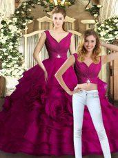 Organza V-neck Sleeveless Backless Beading and Ruffles Sweet 16 Dress in Fuchsia