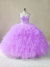 Low Price Lilac Sleeveless Beading and Ruffles Floor Length Sweet 16 Dress