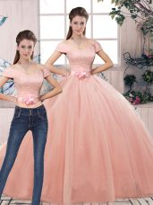 Pink Two Pieces Lace and Hand Made Flower Quinceanera Gown Lace Up Tulle Short Sleeves Floor Length