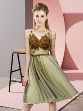 Dazzling V-neck Sleeveless Lace Up Bridesmaid Dresses Yellow Tulle