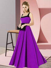 High End Purple Empire Belt Vestidos de Damas Zipper Chiffon Sleeveless Floor Length