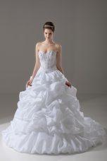Sleeveless Brush Train Lace Up Beading and Pick Ups Wedding Dress