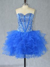 Cute Sleeveless Organza Mini Length Lace Up Homecoming Dress in Blue with Beading and Ruffles