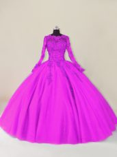 Admirable Purple Tulle Zipper Sweet 16 Dress Long Sleeves Floor Length Lace and Appliques