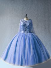 Smart Tulle Long Sleeves Floor Length Sweet 16 Dress and Beading