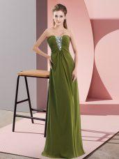 On Sale Olive Green Chiffon Zipper Hoco Dress Sleeveless Floor Length Beading