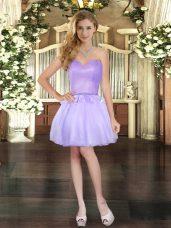 Hot Sale Mini Length Lavender Party Dress Organza Sleeveless Beading