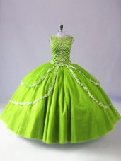 Customized Sleeveless Floor Length Beading and Appliques Zipper Quinceanera Gowns with