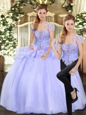 Strapless Sleeveless Quinceanera Dresses Floor Length Beading and Appliques Lavender Organza