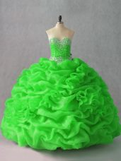 Beauteous Sleeveless Organza Floor Length Lace Up Sweet 16 Quinceanera Dress in with Beading and Hand Made Flower