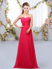 Sexy Hot Pink Sweetheart Lace Up Hand Made Flower Quinceanera Dama Dress Sleeveless