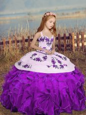 Custom Designed Floor Length Purple Kids Formal Wear Organza Sleeveless Embroidery