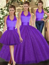 Discount Purple Sequined Lace Up Halter Top Sleeveless Floor Length Quince Ball Gowns Ruching