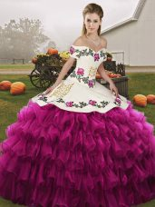 Suitable Fuchsia Lace Up Off The Shoulder Embroidery and Ruffled Layers Ball Gown Prom Dress Organza Sleeveless