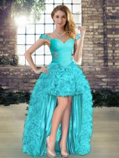 Designer Aqua Blue Sleeveless Organza Lace Up Dress for Prom for Wedding Party