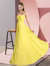 Vintage Yellow Empire Ruching Homecoming Dress Lace Up Chiffon Sleeveless Floor Length