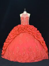 Modest Red Halter Top Lace Up Beading and Appliques and Embroidery Sweet 16 Quinceanera Dress Sleeveless