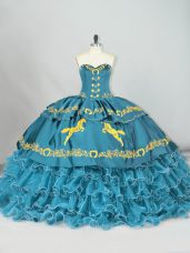 Teal Satin and Organza Lace Up Quinceanera Dress Sleeveless Brush Train Embroidery and Ruffled Layers