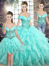 Best Selling Aqua Blue Vestidos de Quinceanera Organza Brush Train Sleeveless Beading and Ruffles