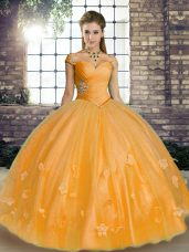 Beauteous Orange Ball Gowns Off The Shoulder Sleeveless Tulle Floor Length Lace Up Beading and Appliques Quinceanera Gown
