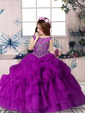 Cute Scoop Sleeveless Zipper Little Girls Pageant Dress Wholesale Purple Organza