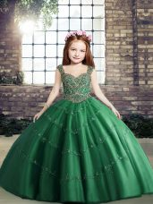 Dark Green Straps Lace Up Beading Party Dress Wholesale Sleeveless