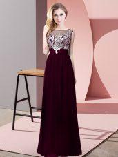Burgundy Empire Beading Celebrity Dresses Backless Chiffon Sleeveless Floor Length