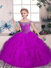 Customized Floor Length Purple Pageant Dress Wholesale Tulle Sleeveless Beading and Ruffles