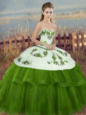 Ball Gowns Sweet 16 Dress Green Sweetheart Tulle Sleeveless Floor Length Lace Up