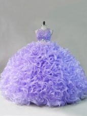 Fashionable Sleeveless Fabric With Rolling Flowers Floor Length Lace Up Sweet 16 Quinceanera Dress in Lavender with Beading