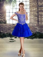 Gorgeous Ball Gowns Homecoming Party Dress Royal Blue Off The Shoulder Tulle Sleeveless Mini Length Lace Up