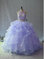 Floor Length Backless Sweet 16 Dresses Lavender for Sweet 16 and Quinceanera with Beading and Ruffles