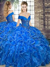 Modern Sleeveless Floor Length Beading and Ruffles Lace Up Quinceanera Gowns with Royal Blue