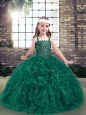 Organza Straps Sleeveless Lace Up Beading and Ruffles Womens Party Dresses in Dark Green