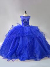Royal Blue Sleeveless Beading and Ruffles Lace Up Sweet 16 Dresses