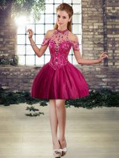 Fashionable Tulle Halter Top Sleeveless Lace Up Beading Homecoming Party Dress in Fuchsia