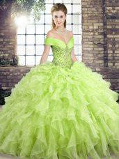 Elegant Yellow Green Sleeveless Brush Train Beading and Ruffles Quinceanera Gown