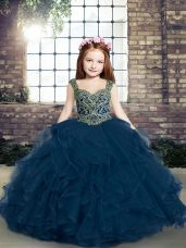 Nice Ball Gowns Girls Pageant Dresses Blue Straps Tulle Sleeveless Lace Up