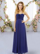 Luxurious Royal Blue Sweetheart Lace Up Ruffles Wedding Guest Dresses Sleeveless
