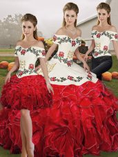 3b076e0d17b White And Red Lace Up Off The Shoulder Embroidery and Ruffles Quinceanera  Gown Organza Sleeveless  US  307.9000