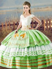 Gorgeous Ball Gowns Satin V-neck Sleeveless Embroidery and Ruffled Layers Floor Length Lace Up Quinceanera Gowns