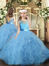 Popular Floor Length Backless Party Dresses Baby Blue for Party and Wedding Party with Ruffles
