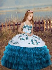 Latest Floor Length Ball Gowns Sleeveless Blue Evening Gowns Lace Up