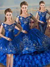 Chic Royal Blue Three Pieces Off The Shoulder Sleeveless Satin and Organza Floor Length Lace Up Embroidery and Ruffled Layers Ball Gown Prom Dress