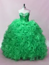 Green Sleeveless Floor Length Sequins Lace Up Sweet 16 Dress