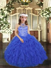 Tulle Scoop Sleeveless Lace Up Beading and Ruffles Pageant Dresses in Royal Blue