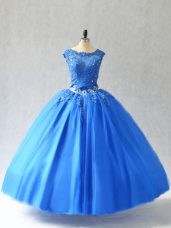 Fantastic Blue Sleeveless Tulle Lace Up 15th Birthday Dress for Sweet 16 and Quinceanera