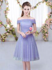 Fashion Lavender Tulle Lace Up Off The Shoulder Short Sleeves Knee Length Bridesmaids Dress Belt